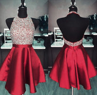 Halter Neck Homecoming Dress Short Beaded Graduation Dresses Dance Dress Sweet 16 Dress SW113