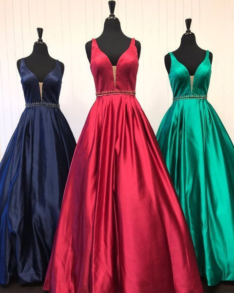 A-line Satin Long Prom Dress Fashion Winter Formal Dress Popular Wedding Party Dress  LP318