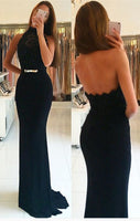 Open Back Mermaid Long Prom Dress Semi Formal Dresses Wedding Party Dress LP108