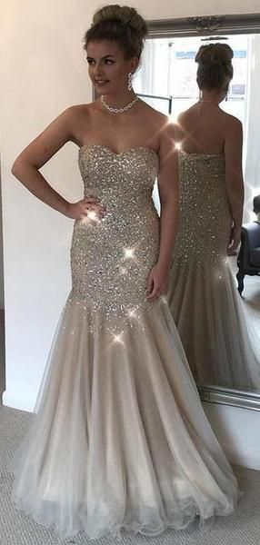 Strapless Beaded Long Prom Dress Fashion Winter Formal Dress Popular Wedding Party Dress  LP344