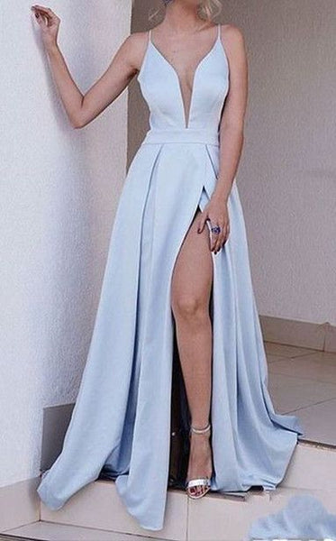 V-neck Floor Length Satin Prom Dress Semi Formal Dresses Wedding Party Dress LP189