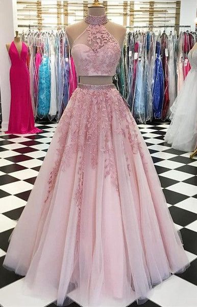 2020 Two Pieces Long Prom Dresses with Applique and Beading Fashion Winter Formal Dress Popular Party Dress LP461