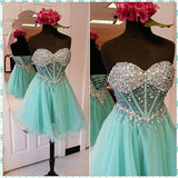 Short homecoming dress Prom dress with lace up back I1053