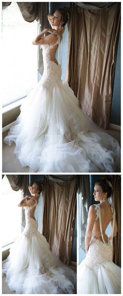 Handmade Bridal Dress,Custom Made Beach Wedding Dress in High Quality WB023