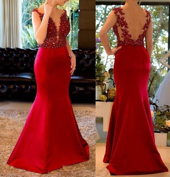 Fashion Mermaid Long Prom Dress Semi Formal Dresses Wedding Party Dress LP150