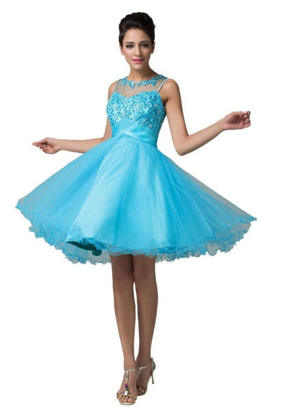 Short Prom dress,Tulle Prom dress ,Beaded prom dress,Short Homecoming Dress