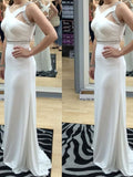 White Floor-length Evening Dresses, Floor-length Long Prom Dresses LP021