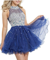 Short Prom dress,Tulle Prom dress ,Beaded prom dress