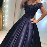 Off the Shoulder Satin Floor-Length Prom Dress With Applique and Beading ,Long Formal Dress LP048