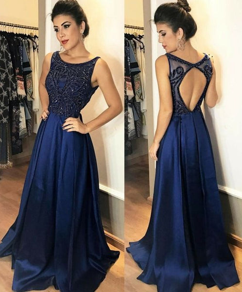 Fashion Open Back Floor Length Prom Dress With Beading Semi Formal Dresses Wedding Party Dress LP175