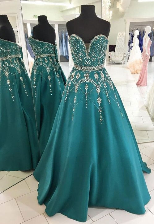 af56ab7a971 Sweetheart Floor Length Prom Dress With Beading Semi Formal Dresses We –  Promtailor