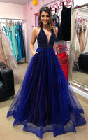 Fashipn A-line Beaded Long Prom Dress Semi Formal Dresses Wedding Party Dress LP160