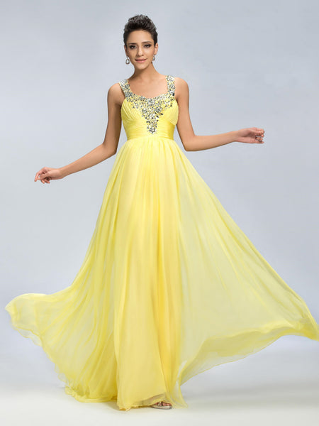 Beaded Floor Length Chiffon Yellow Prom Gowns  I033