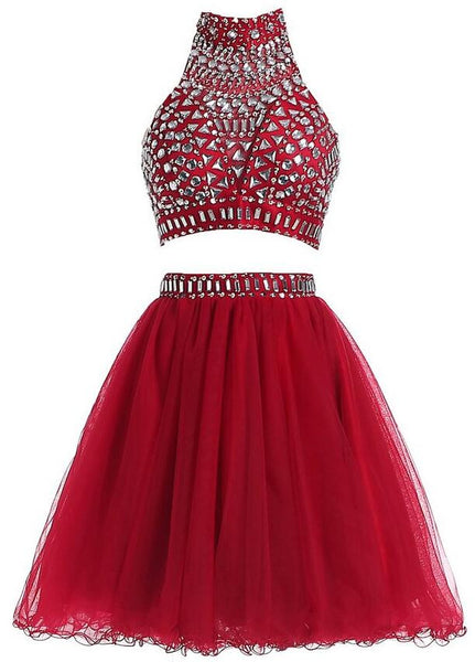 Two Pieces Beading Homecoming Dress I1018