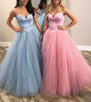 Strapless Satin/Tulle Ball Gown Long Prom Dresses   LP267