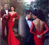Red Cocktail Dress ,2016 Floor Length Prom dress with long sleeves