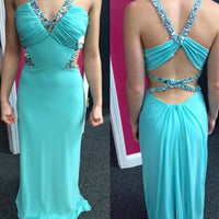 V-neck Floor Length Evening Dress With Beadings I1003