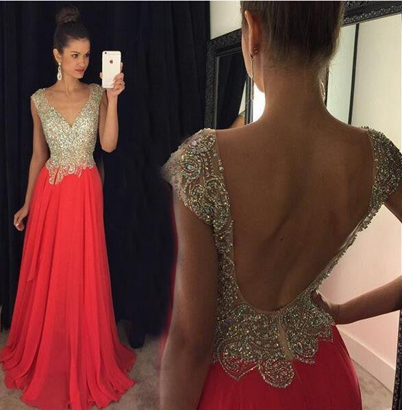 V-neck beaded evening dress with cap sleeves L019