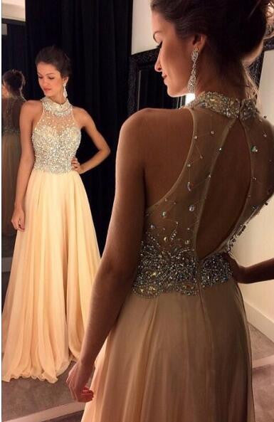 A-line beaded evening dress