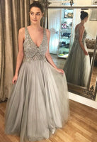 Deep V Neck Tulle Crystal Beaded Prom Dresses ,Backless Sparkly Prom Dress LP249