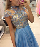 A-line Top Beaded Long Prom Dress,Formal Dresses,Wedding Party Dress LP079