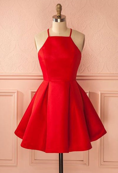 Red Satin Short Homecoming Dress,Graduation Dresses,Dance Dress Sweet 16 Dress SW075