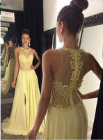 2016 Prom dress,Chiffon Prom dress ,Beaded prom dress,Yellow prom dress SP1027