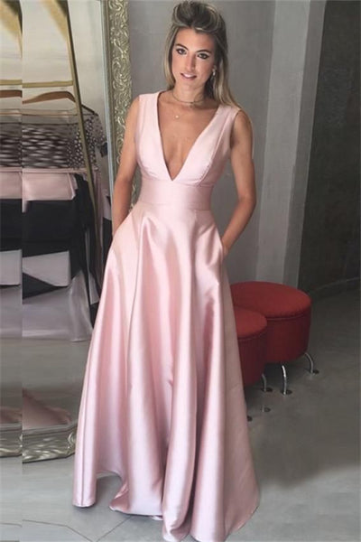 Deep V-Neck Floor-Length Pink Satin Prom Dress with Pockets,Custom Made Prom Dress  LP253