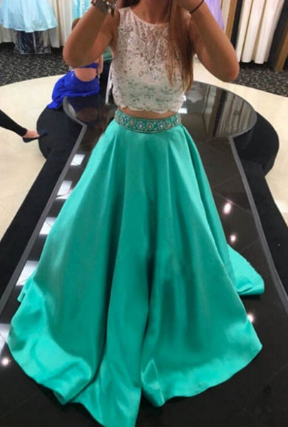 Fashipn Two Piece Long Prom Dress Semi Formal Dresses Wedding Party Dress LP161
