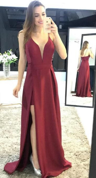 Unique A-line Long Prom Dress with Slit Fashion Winter Dance Dress  LP291