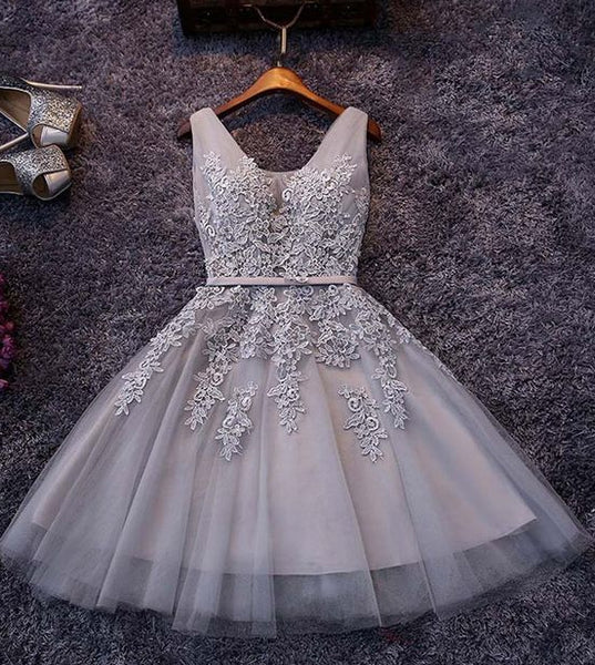 Short Homecoming Dress With Applique And Pearl,Short Prom Party Dress SW066