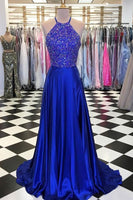 Halter Neck A-line Top Beaded Fashion Floor-Length Prom Dress,Long Formal Dress LP074