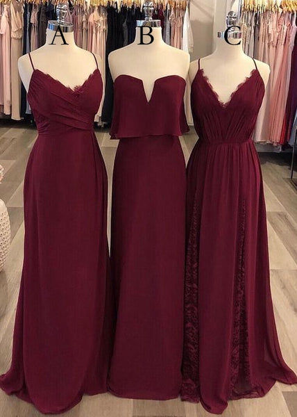 Burgundy A-line Long Prom Dress Fashion Winter Formal Dress Popular Bridesmaid Dress  LP337