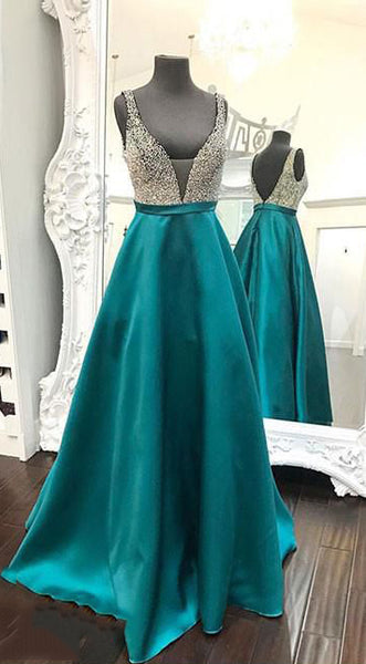 Backless Beaded Satin Long Prom Dresses   LP268