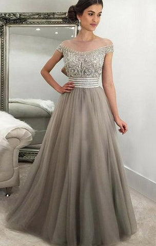 Off The Shoulder A-line Floor Length Prom Dress With Top Beaded,Formal Dresses,Wedding Party Dress LP081