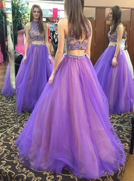 Two Pieces Beaded Long Prom Dresses Fashion Winter Formal Dress Popular Wedding Party Dress  LP367