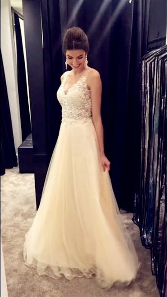 V-neck Beading Prom Dresses Long Formal Dress  SP1052