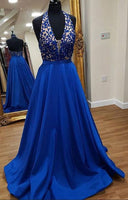 Halter Neck Appliqued Floor Length Prom Dress Semi Formal Dresses Wedding Party Dress LP177