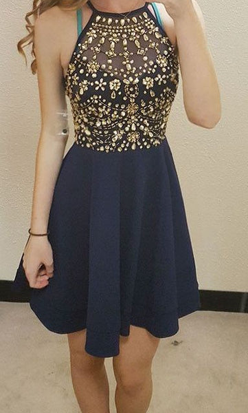 Top Beaded Short Homecoming Dress,Graduation Dresses,Dance Dress Sweet 16 Dress SW073