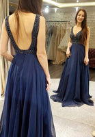 Open Back Floor Length Prom Dress with Beading Semi Formal Dresses Wedding Party Dress LP179
