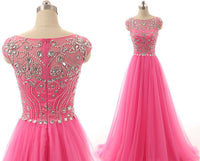 A-line Tulle Prom dress With Cap Sleeves With Beadings