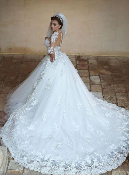 Princess Wedding Dress Ball Gown Bridal Dress With Long Sleeves