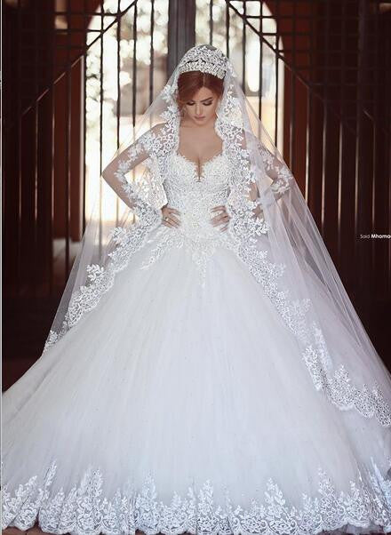 Princess Wedding Dress Ball Gown Bridal Dress With Long Sleeves ...