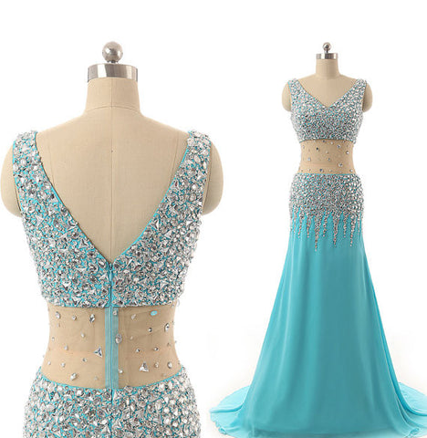 2016 Prom dress,V-neck Party Dress,Beaded Homecoming Dress