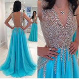 V-neck A-line Beaded Long Prom Dresses Fashion Winter Formal Dress Popular Wedding Party Dress LP388
