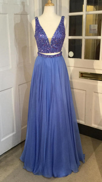 Two Piece Beading Long Prom Dress Semi Formal Dresses Wedding Party Dress LP147