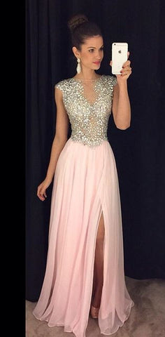 Fashion A-line Beaded Long Prom Dress , Long Winter Formal Dress P005