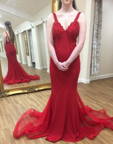 V-neck Long Prom Dress Mermaid Fashion Winter Formal Dress Popular Party Dress LP395