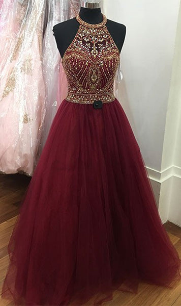 Burgundy Halter Neckline Floor-Length Prom Dress with Beading,Long Formal Dress LP045