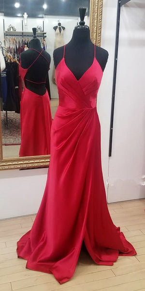 Simple A-line Long Prom Dress with Slit Fashion Winter Dance Dress  LP290